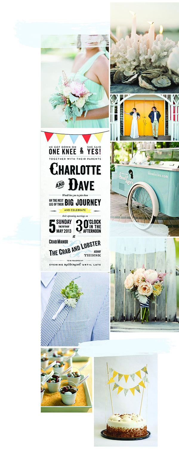 vintage seaside ticket wedding invitations
