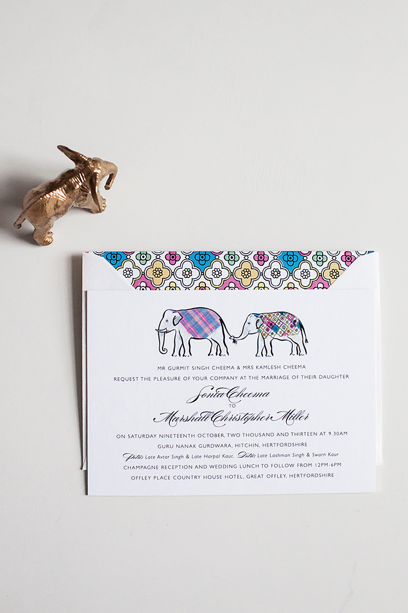Gold Elephant Wedding Invitation