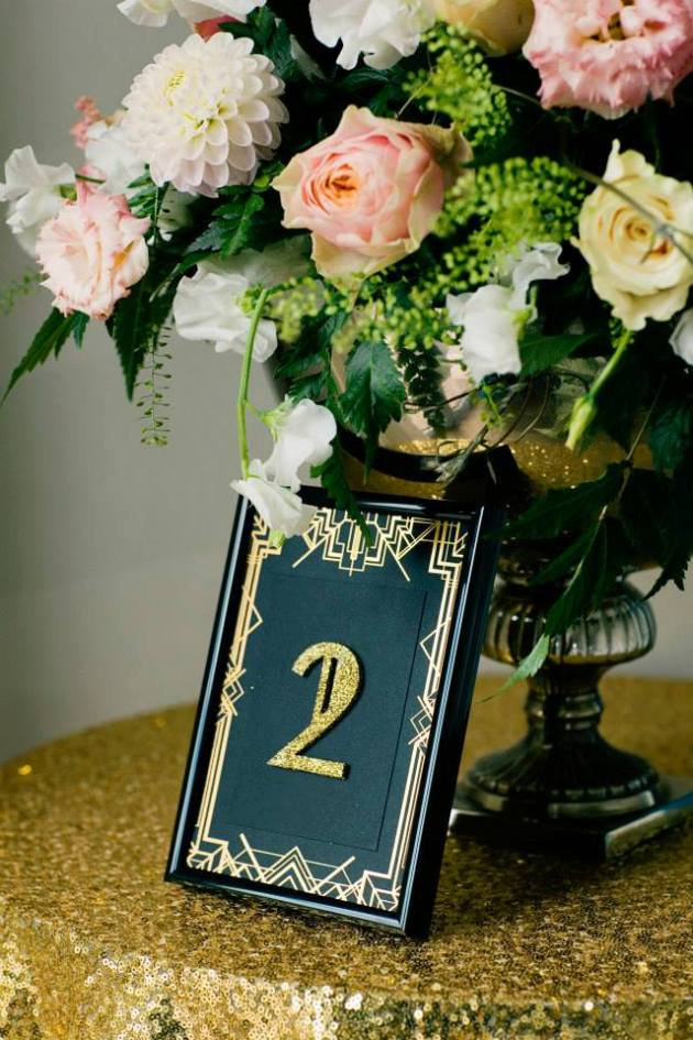 Art Deco Gold Foil Glitter Table Number